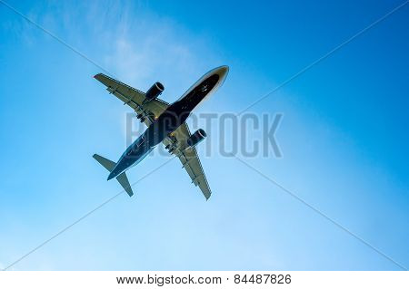 Airplane In The Blue Cloudless Sky Is Landing