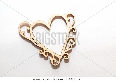 Heart Made Out Of Wood On A White Background