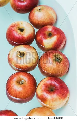 Big Red Apples In Water
