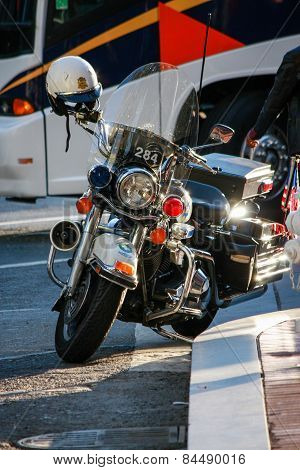 SAN FRANCISCO, CA, USA - SEPT 24, 2008: Police modern black motorcycle parked at the downtown sidewa