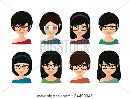 Female Asian Avatar Wearing Glasses