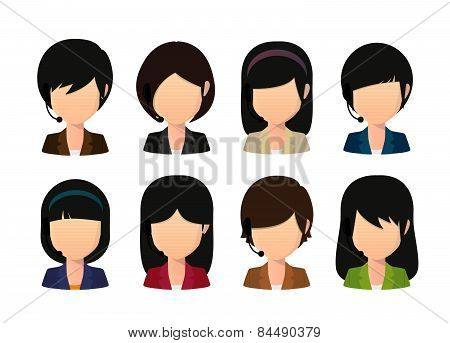 Female Asian Faceless Avatar Wearing Head Set
