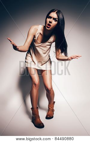 Rock N Roll Brunette Woman With Crazy Face