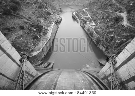 Spillway Dam Detail And The Duero River. Spain