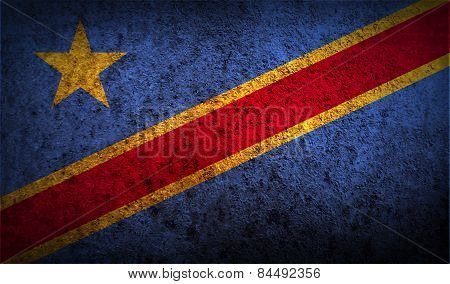 Flag Of Congo Democratic Republic With Old Texture. Vector