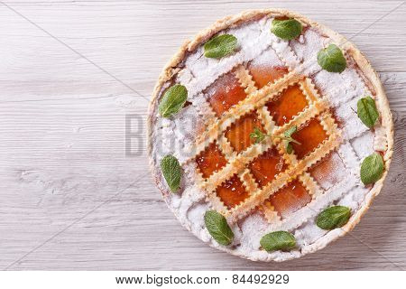 Tart With Apricot Jam Horizontal View From Above