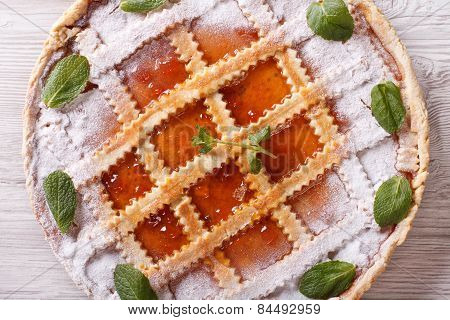 Italian Crostata With Apricot Jam Closeup Horizontal Top View