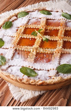 Italian Tart With Apricot Jam And Mint Close Up Vertical