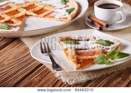 Italian Tart With Apricot Jam And Coffee. Horizontal