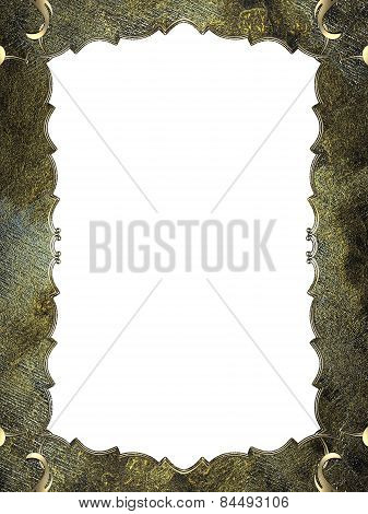Abstract Grunge Frame With Gold Border. Design Template. Design Site