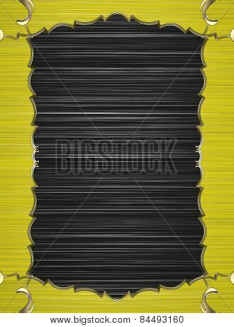 Abstract Yellow Frame With Gold Border On Black Background. Design Template. Design Site