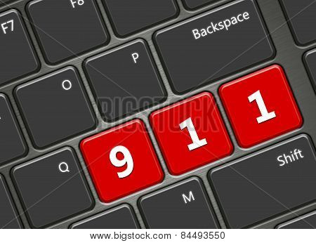 Computer Keyboard With 911 Emergency Number