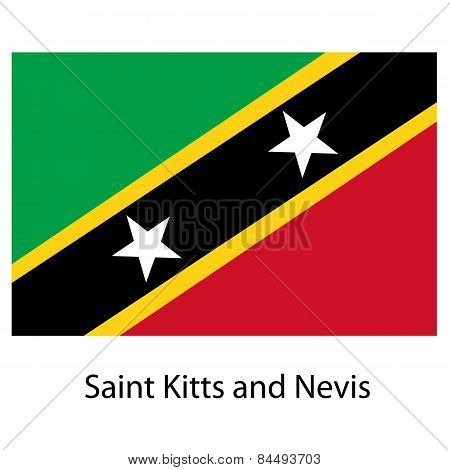 Flag  Of The Country  Saint Kitts And Nevis. Vector Illustration