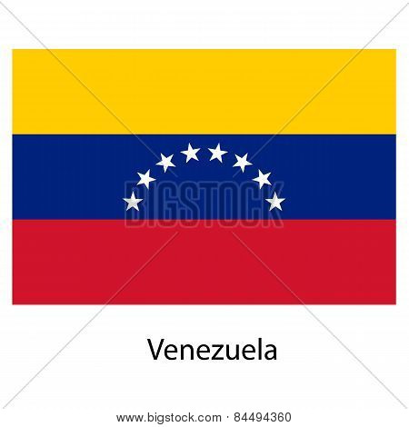 Flag  Of The Country  Venezuela. Vector Illustration.