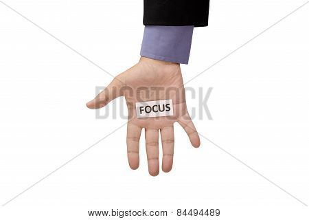 Hand Hold Paper With Focus Writing