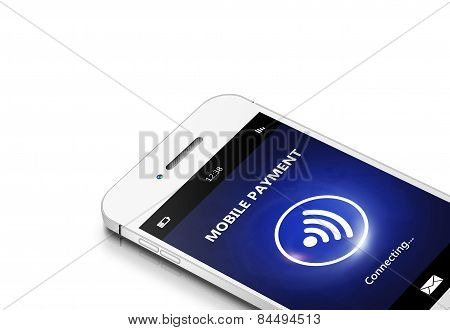 Mobile Phone With Moble Payment Isolated Over White