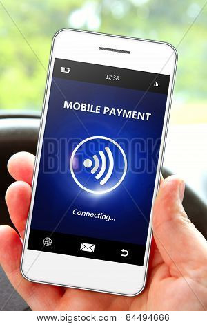 Hand Holding Mobile Phone With Mobile Payment