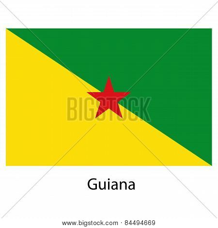 Flag  Of The Country  Guiana. Vector Illustration.