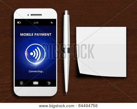 Mobile Phone With Mobile Payment, Pen And Empty Note