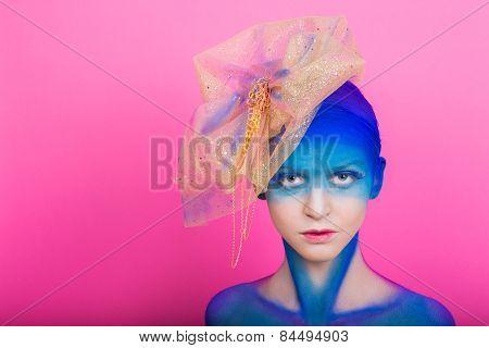 Creative makeup. Airbrush. Blue, indigo, violet makeup