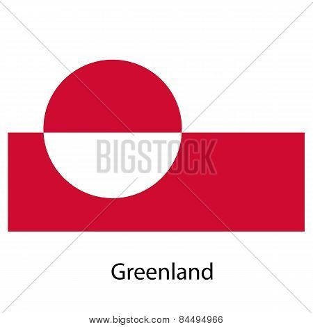 Flag  Of The Country Greenland. Vector Illustration.