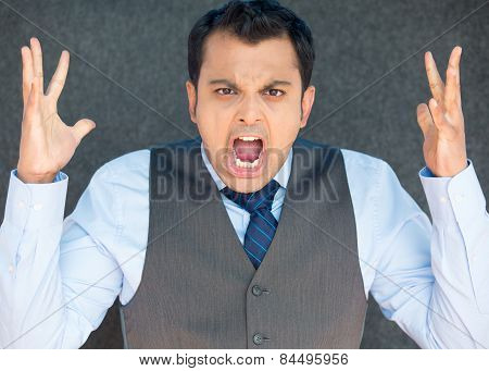 Angry Screaming Boss, Hands In Air