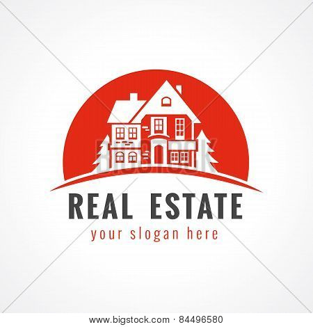 Real estate logo cottage sun