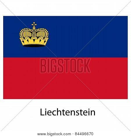 Flag  Of The Country  Liechtenstein. Vector Illustration.