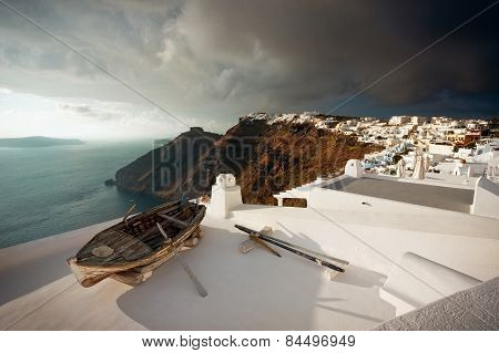 Old Boat On Roof, Santorini