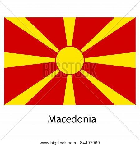 Flag  Of The Country  Macedonia. Vector Illustration.