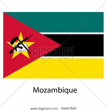 Flag  Of The Country  Mozambique. Vector Illustration.