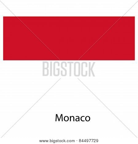 Flag  Of The Country  Monaco. Vector Illustration.