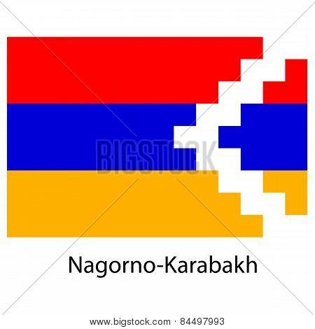 Flag  Of The Country  Nagorno Karabakh. Vector Illustration.