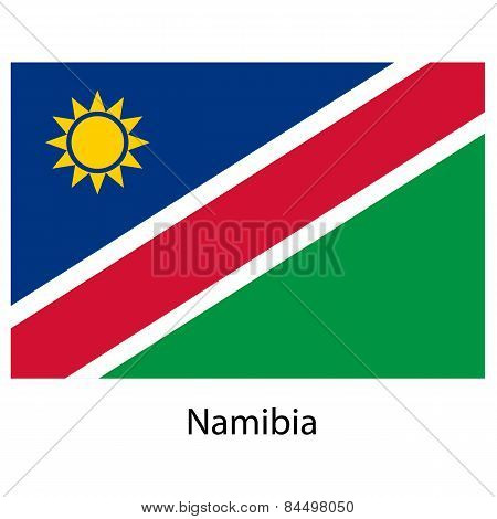 Flag  Of The Country  Namibia. Vector Illustration.