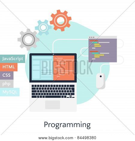 Abstract Flat Vector Illustration Of Software Coding