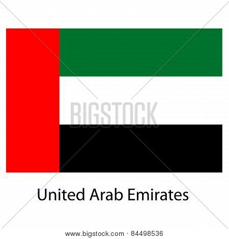 Flag  Of The Country  United Arab Emirates. Vector Illustration.