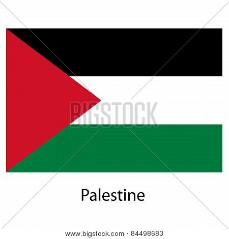 Flag  Of The Country Palestine. Vector Illustration.