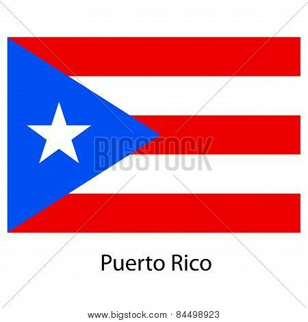 Flag  Of The Country  Puerto Rico. Vector Illustration.