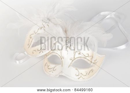 Venetian Carnival Mask In White And Gold