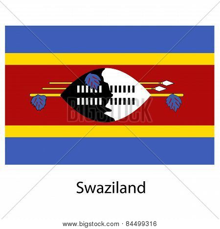 Flag  Of The Country  Swaziland. Vector Illustration.