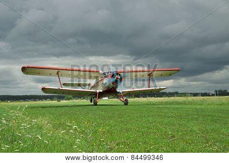 Propeller Biplane Takeoff