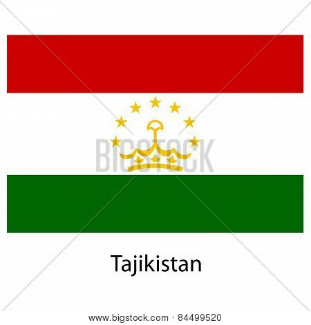 Flag  Of The Country  Tajikistan. Vector Illustration.