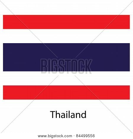 Flag  Of The Country  Thailand. Vector Illustration.