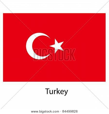 Flag  Of The Country  Turkey. Vector Illustration.