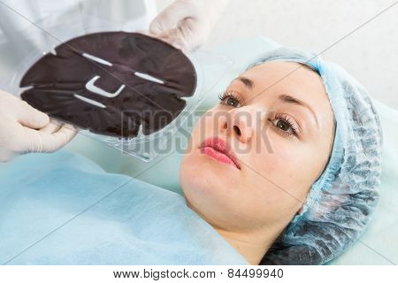 Silicone cosmetic facial mask.