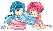 foto of nymph  - Cute cartoon macaron nymphs the goddess of candy create by vector - JPG