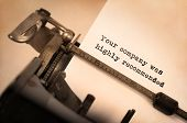 image of recommendation  - Vintage inscription made by old typewriter Your company was highly recommended - JPG