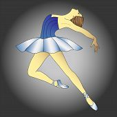 stock photo of pageant  - ballerina in blue dress in a graceful pose - JPG