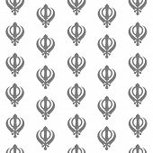 stock photo of khanda  - Seamless pattern of sikh religious symbol in grey color - JPG