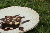 picture of brownie  - Chocolate Brownies cake on a white plate - JPG